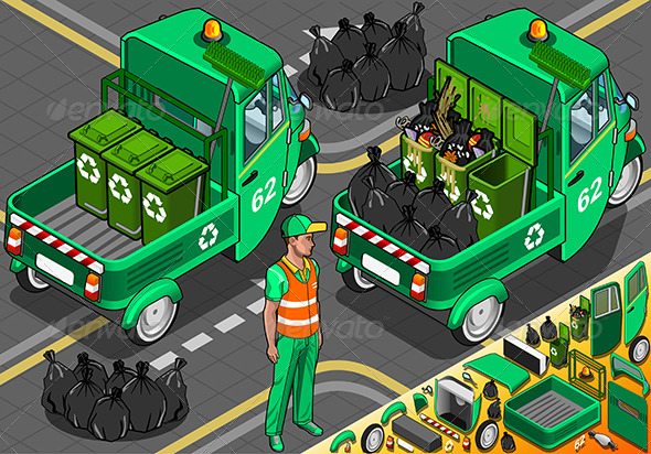 Isometric Garbage Rickshaw in Rear View - People Characters