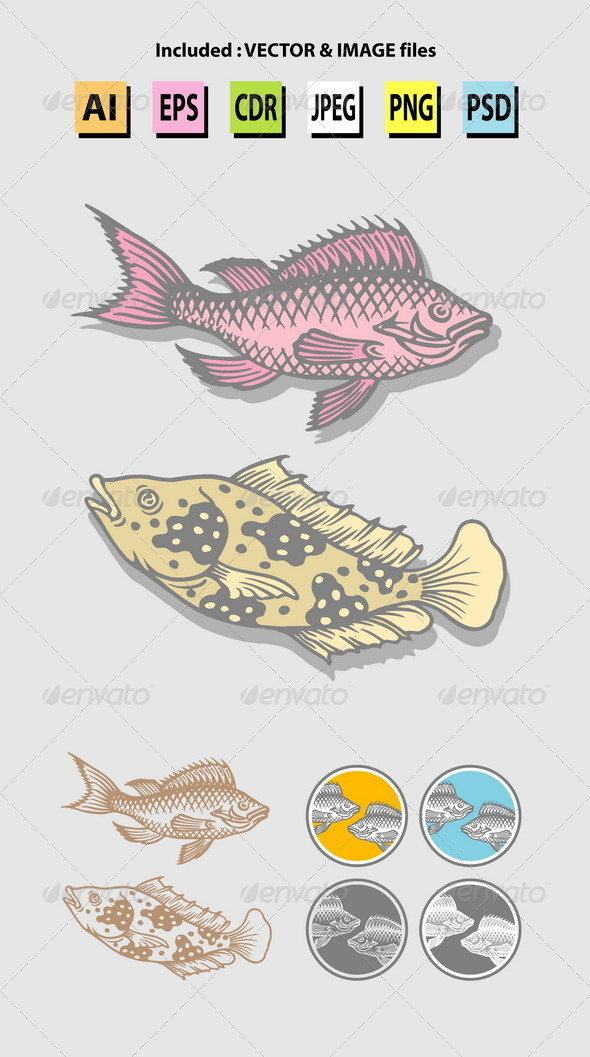 Fish Sketches - Animals Characters