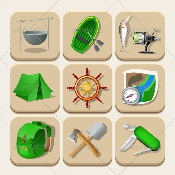 Camping Color Icons. Vector Illustration - Travel Conceptual