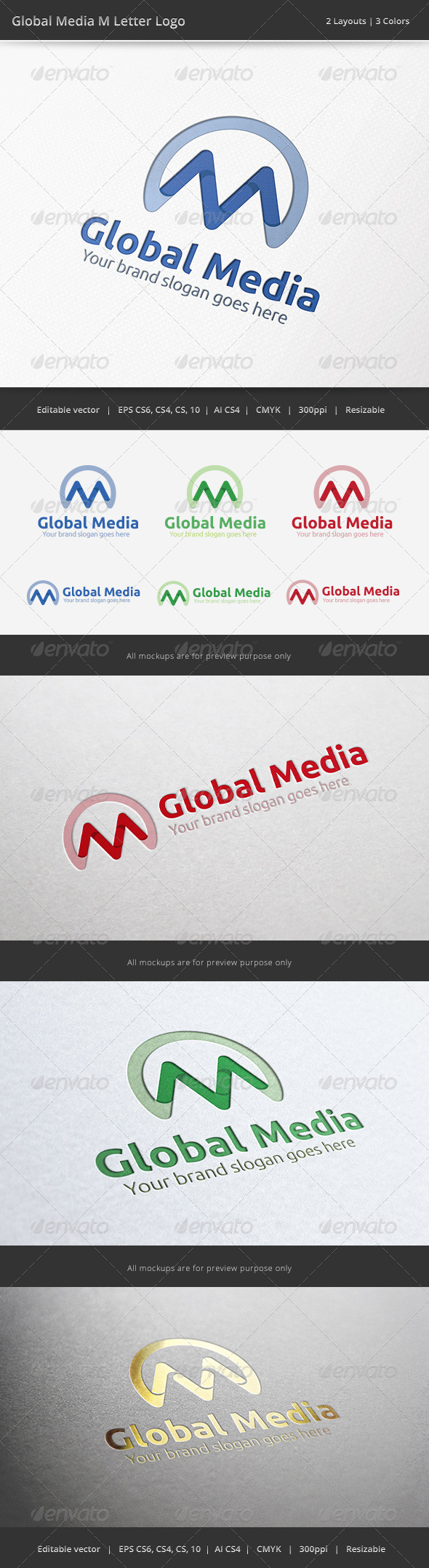 Media Global M Letter Logo - Letters Logo Templates