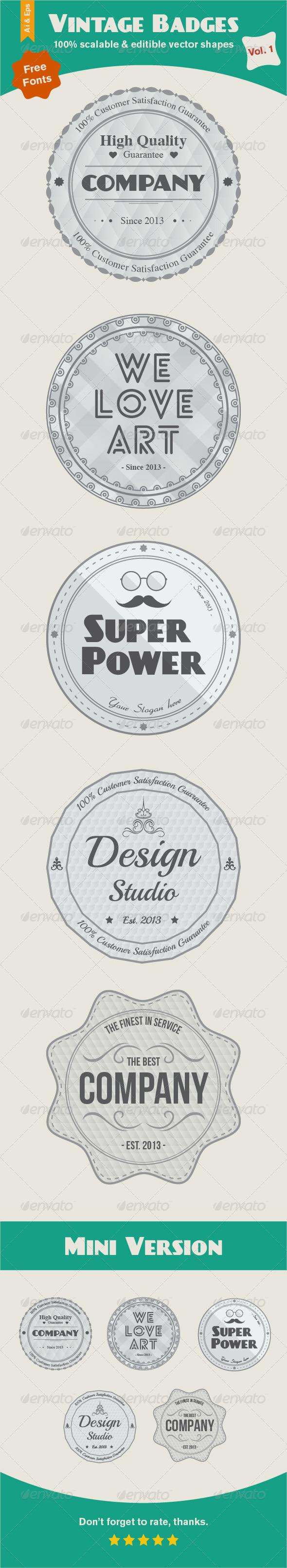 Vintage Badges Vol. 1 - Vectors