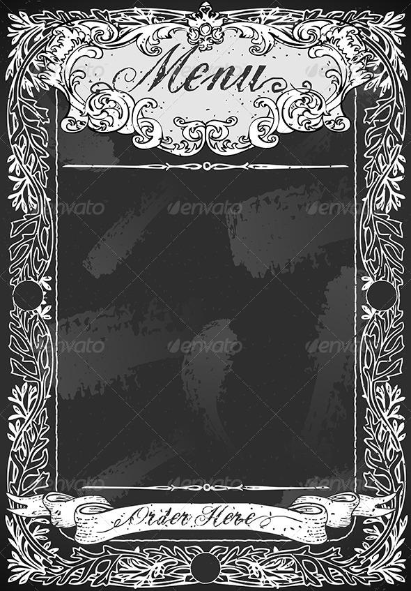 Vintage Blackboard for Restaurant Menu - Decorative Vectors