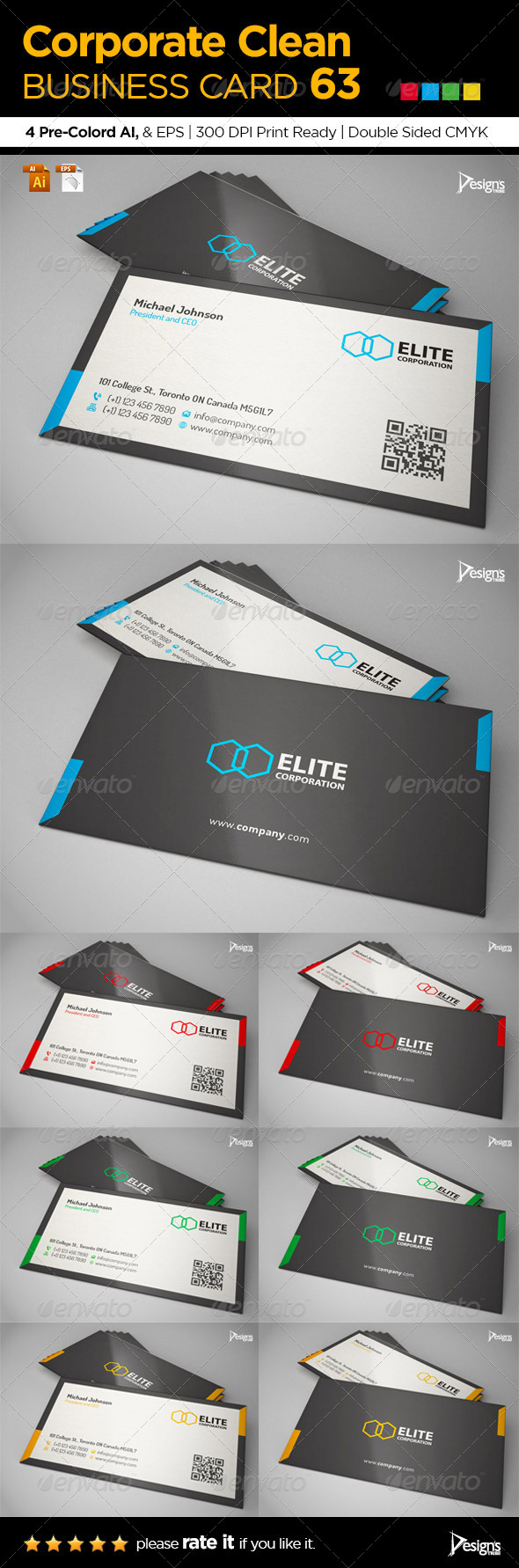 Corporate Clean Business Card 63 - Business Cards Print Templates