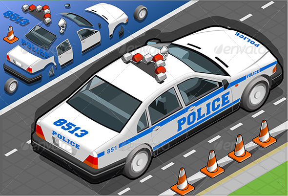 Isometric Police Car in Rear View - Objects Vectors