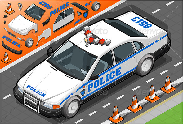 Isometric Police Car in Front View - Objects Vectors