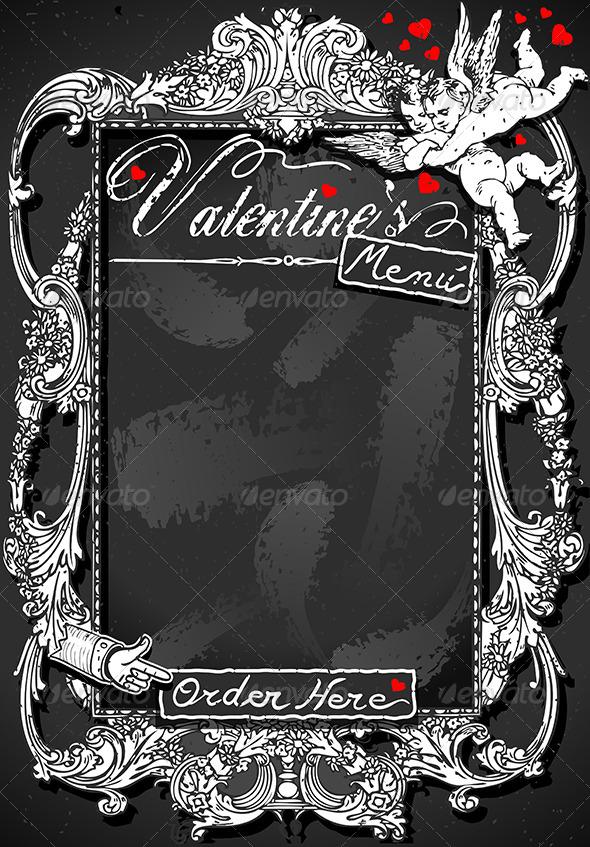 Vintage Blackboard for Valentine 's Menu - Decorative Vectors