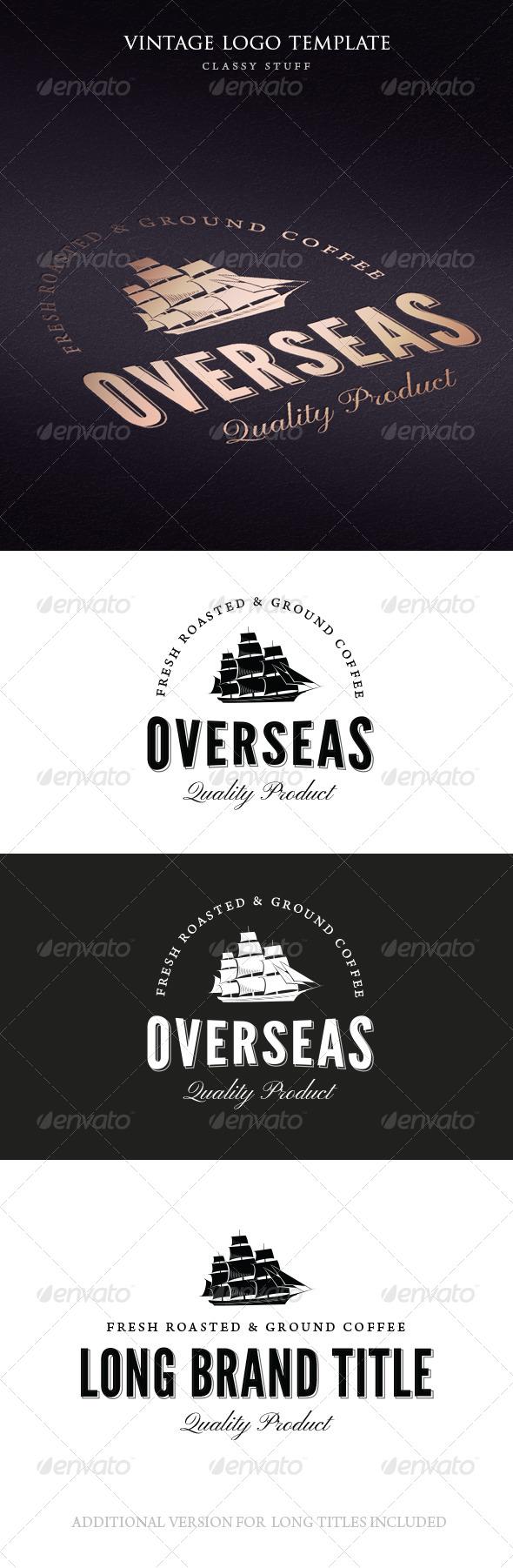 Vintage Overseas Logo Template - Logo Templates