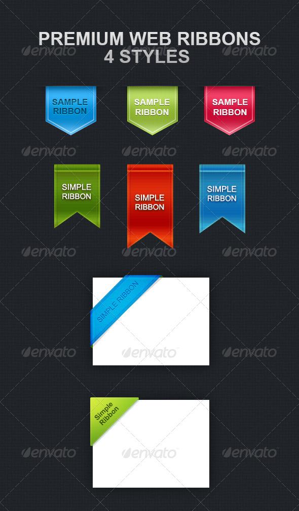 Premium Web Ribbons - Badges & Stickers Web Elements