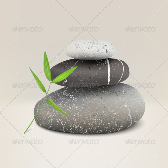 Realistic Illustration of Three Stones for Spa - Objects Vectors