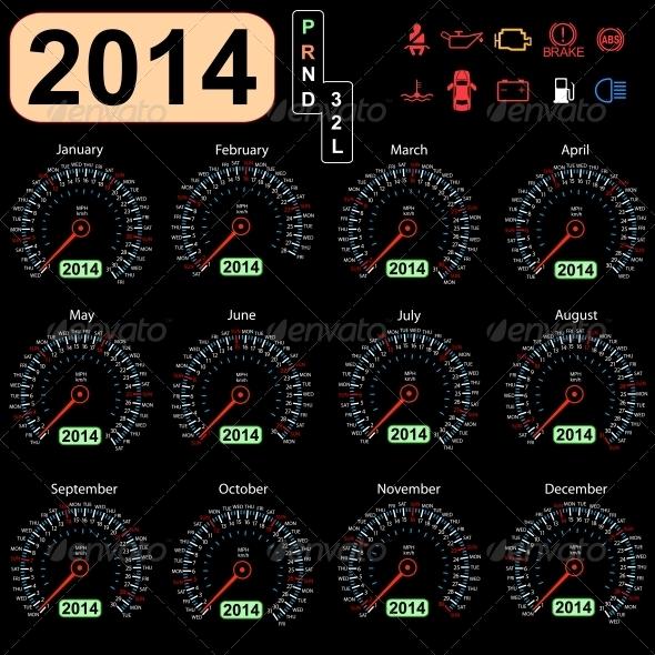 2014 Year Calendar Speedometer - New Year Seasons/Holidays