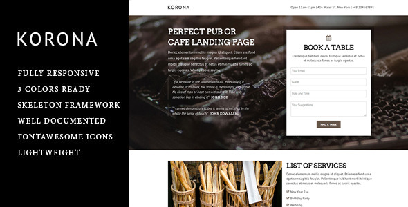 Korona - Responsive Landing Page