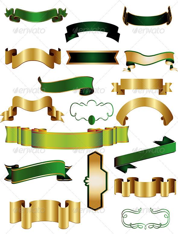 Ribbon Banner Vector Set - Flourishes / Swirls Decorative