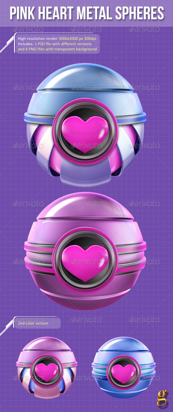 3D Pink Heart Metal Spheres - Abstract 3D Renders