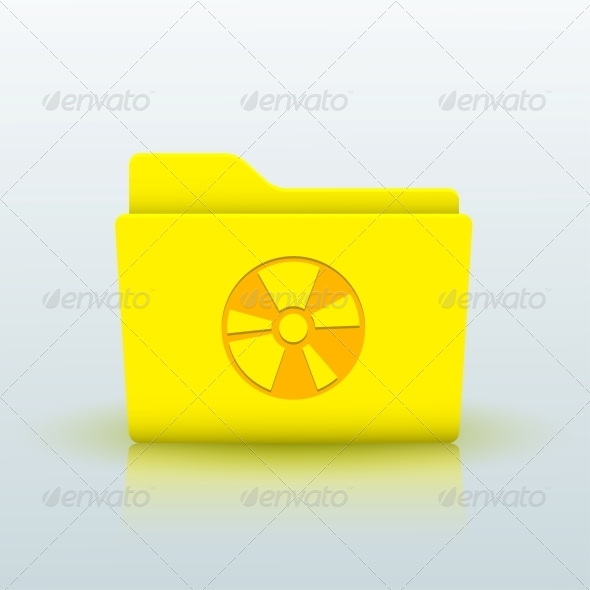 Vector Yellow Folder on Blue Background. Eps10 - Web Elements Vectors