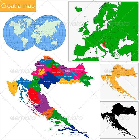 Croatia Map - Travel Conceptual