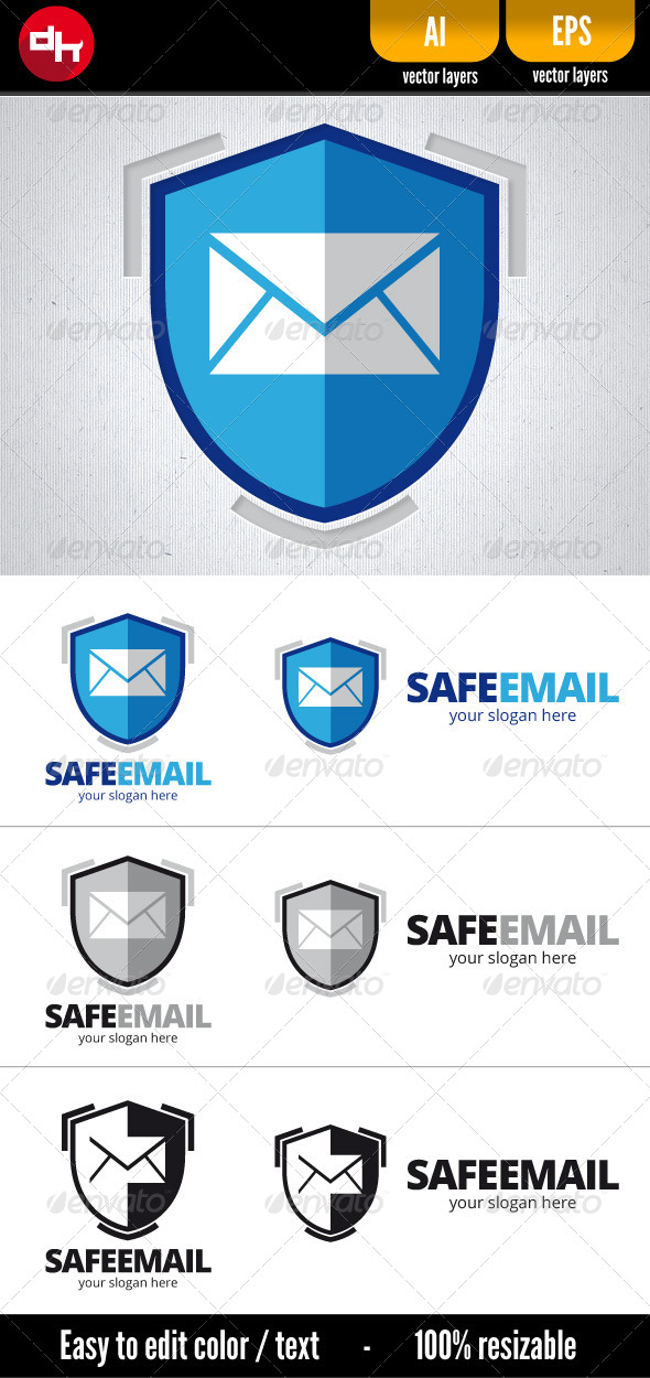Safe Email - Objects Logo Templates