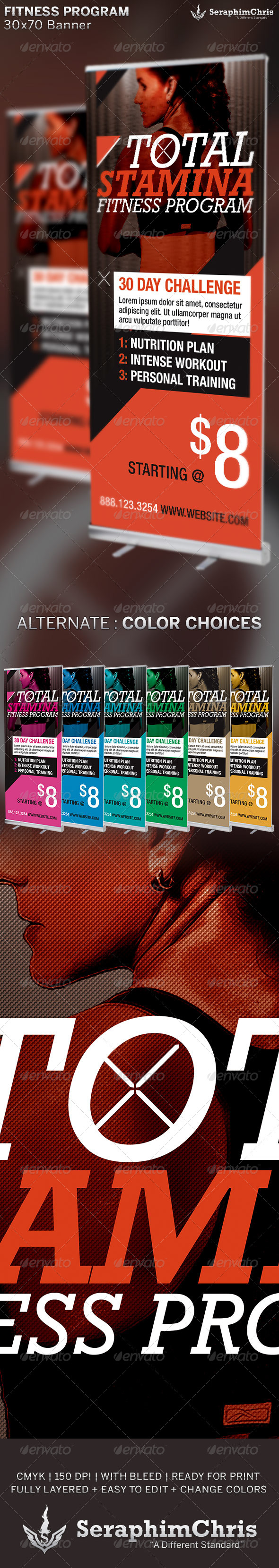 Total Stamina: Fitness Banner Template - Signage Print Templates