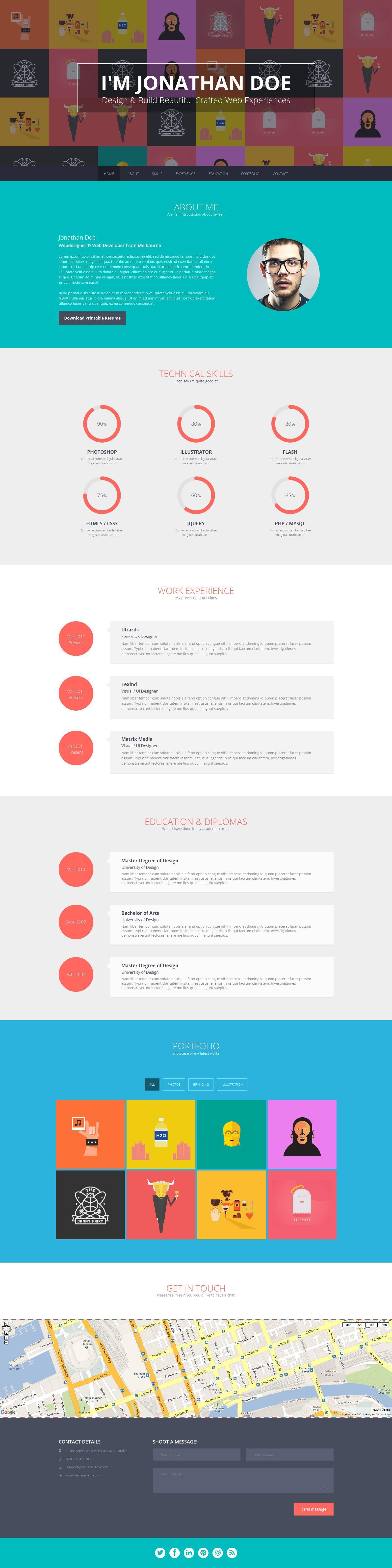 Flato  Responsive Resume Personal Portfolio Temp By Themeelite