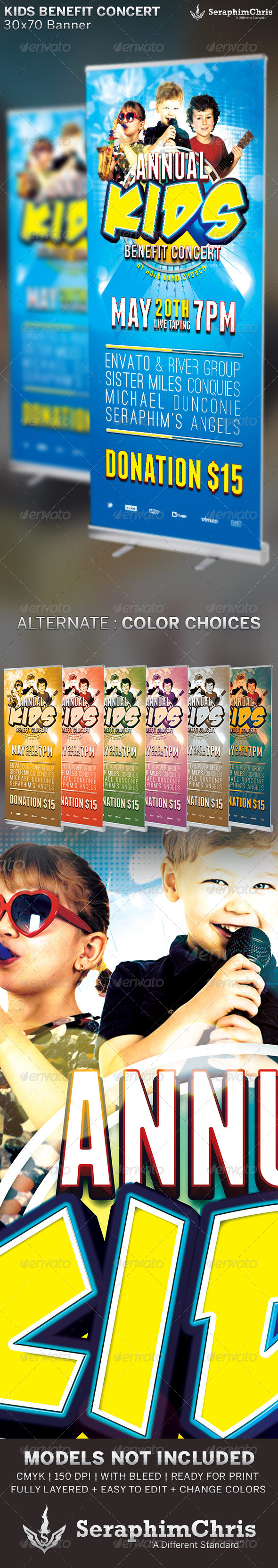 Kids Benefit Concert: Church Banner Template - Signage Print Templates