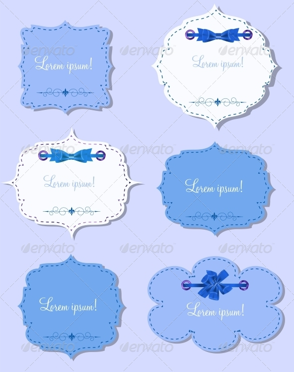 Set of Different Gift Cards with  Ribbons,  Design - Valentines Seasons/Holidays