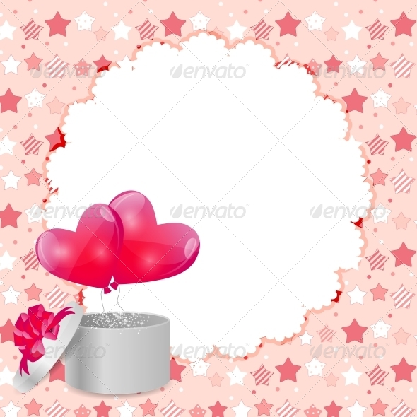 Valentines Day Card with Gift Box and Heart Shaped - Valentines Seasons/Holidays