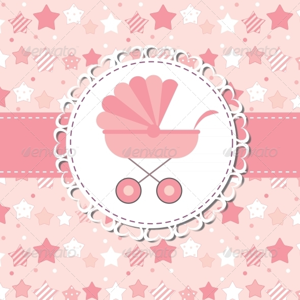 Vector Illustration of Pink Baby Carriage for Newborn - Valentines Seasons/Holidays