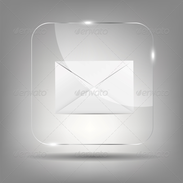 Mail Icon in Glass Button Vector Illustration - Concepts Business