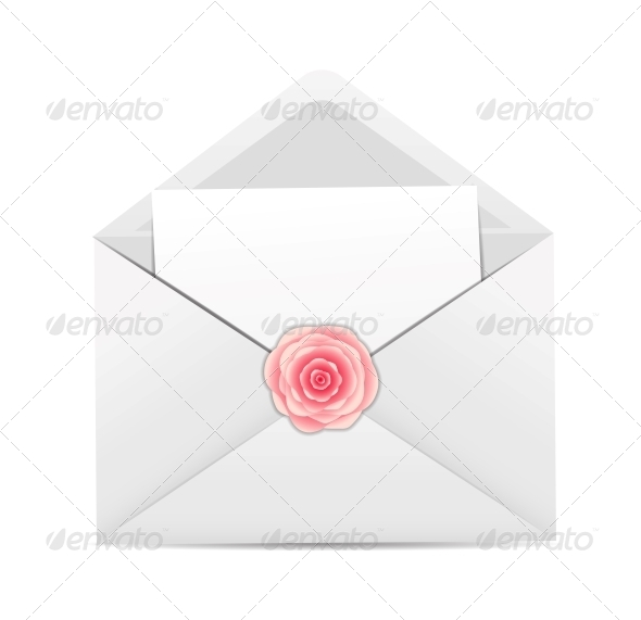 Valentine`s Day Card with Envelope and Rose Flower - Valentines Seasons/Holidays