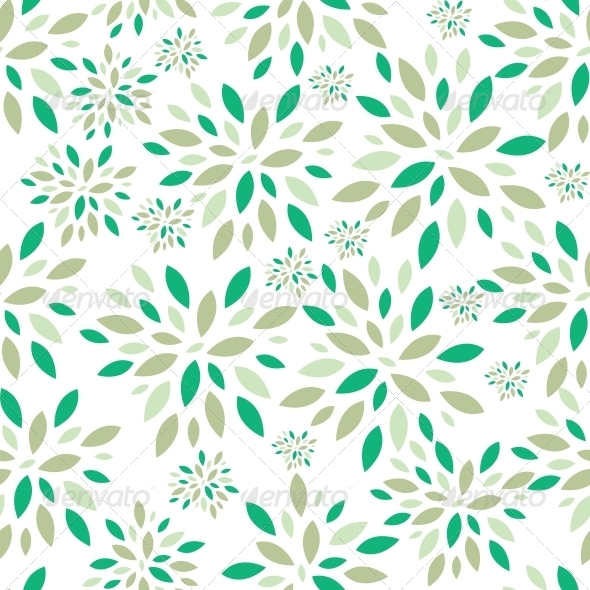 Flower Leaves Seamless Pattern Background Vector I - Flowers & Plants Nature