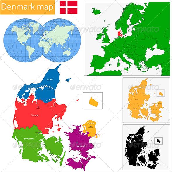 Denmark Map  - Travel Conceptual