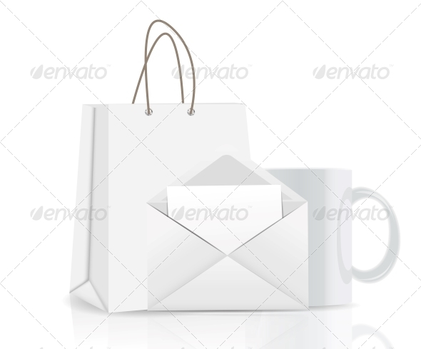 Empty Shopping Bag, Envelope and Cup for Advertising - Retail Commercial / Shopping