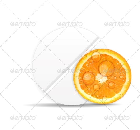 Orange Pill Icon. Environment Background Vector - Health/Medicine Conceptual