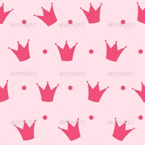 Princess Crown Seamless Pattern Background Vector  - Patterns Backgrounds