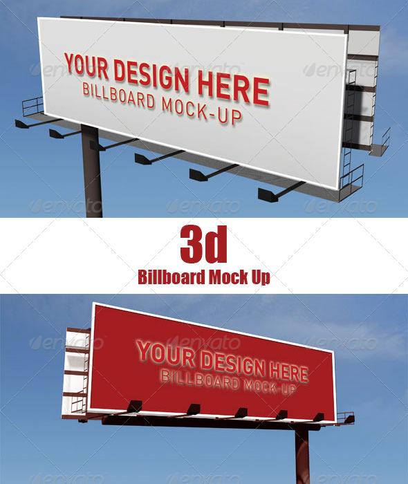 3D Billboard Mock Up - Signage Print