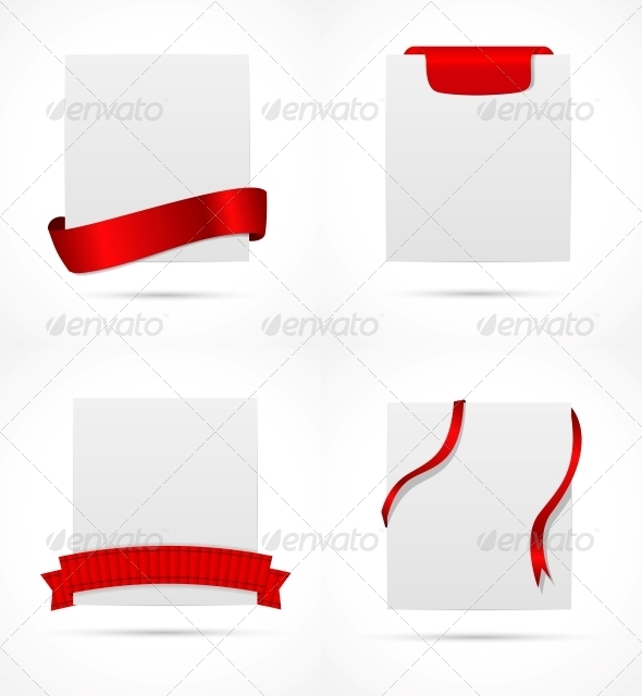 White Card with Ribbon Vector Illustration - Abstract Backgrounds