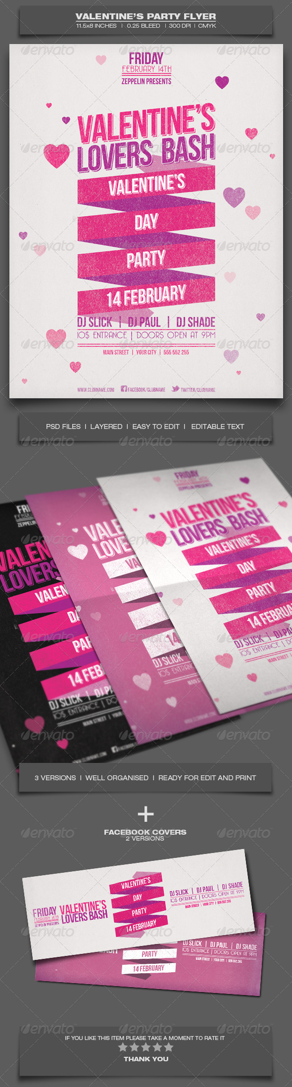 Valentine's Day Party - Event Flyer Template 2 - Holidays Events
