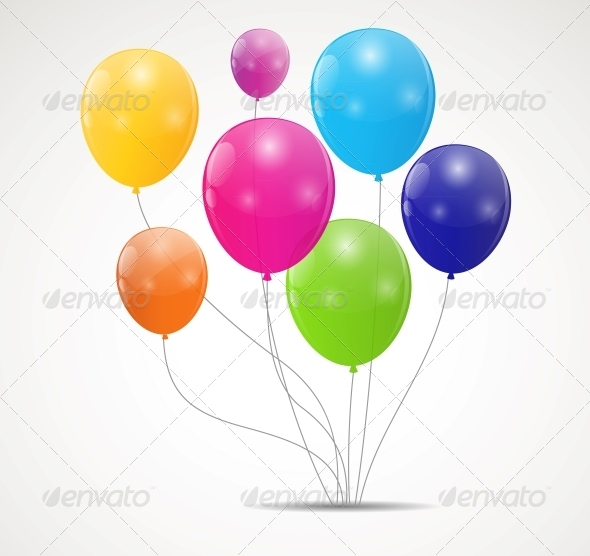 Color Glossy Balloons Background Vector - Birthdays Seasons/Holidays