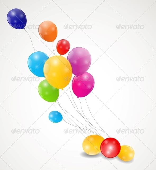 Color Glossy Balloons Background Vector Illustrati - Birthdays Seasons/Holidays