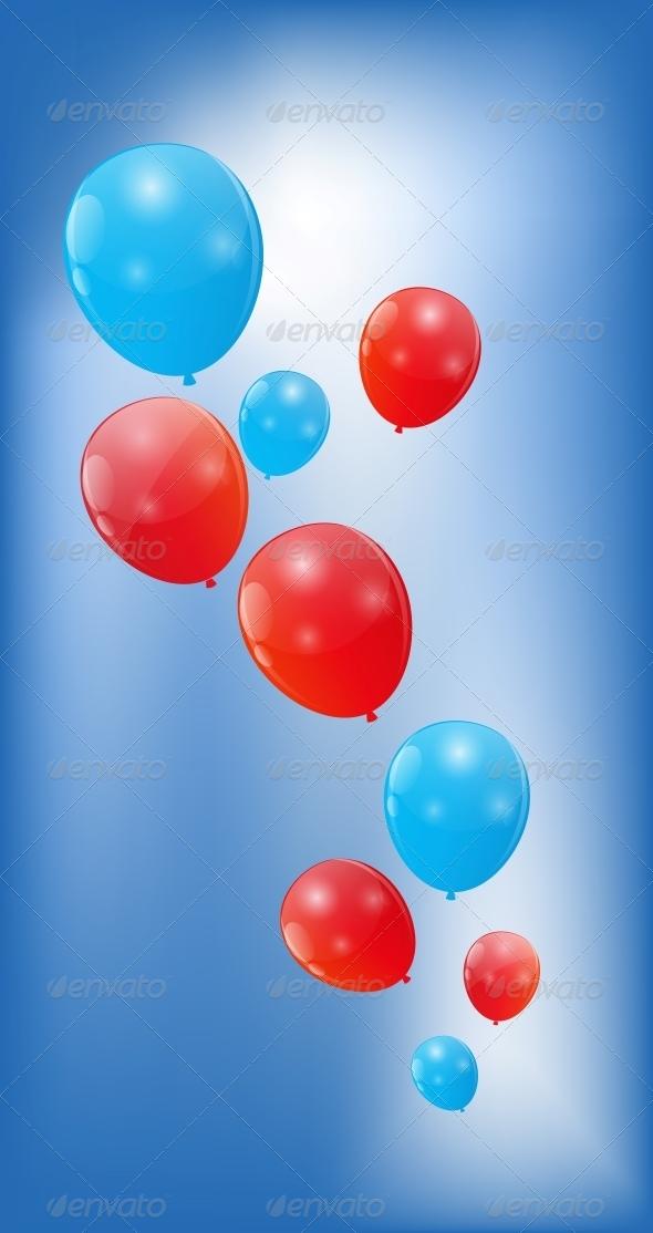 Color Glossy Balloons Background, Vector - Birthdays Seasons/Holidays