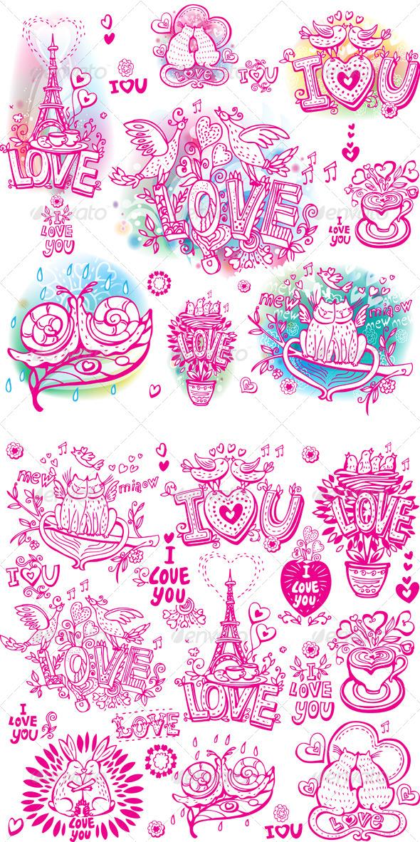 Set of Love Sketch Style - Valentines Seasons/Holidays