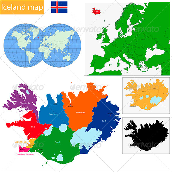Iceland Map - Travel Conceptual