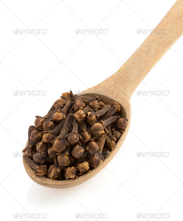 clove spices and spoon - Stock Photo - Images