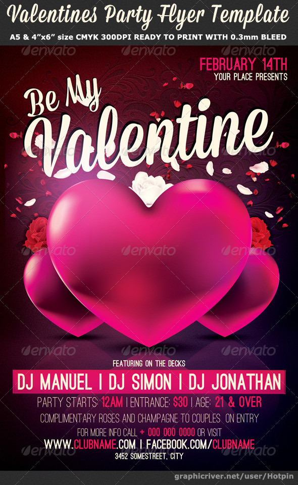 Be My Valentine Party Flyer Template By Hotpin Graphicriver
