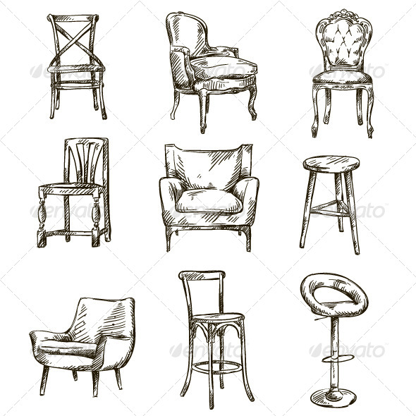 Set of Hand Drawn Chairs - Man-made Objects Objects