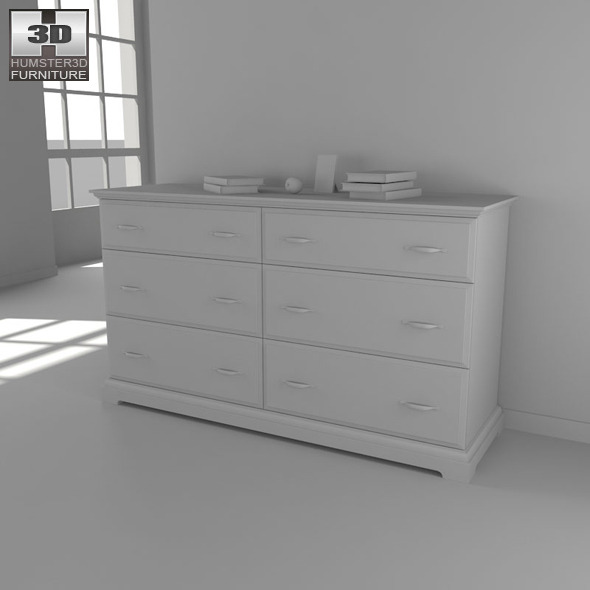 IKEA BIRKELAND Chest of 6 drawers  3D Model by humster3d