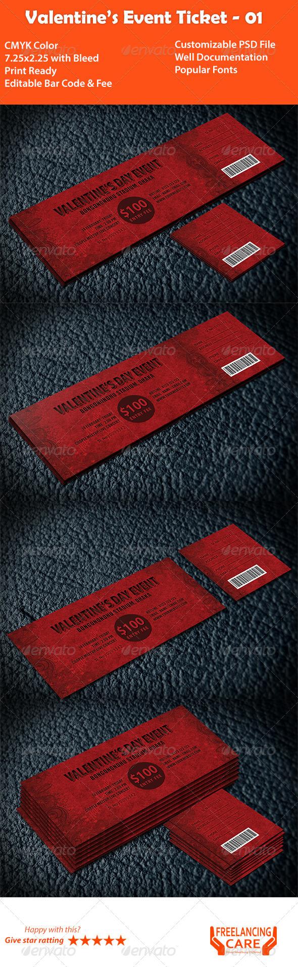 Valentine's Event Ticket - Cards & Invites Print Templates