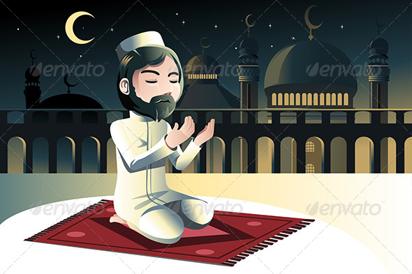 Muslim Praying - Religion Conceptual