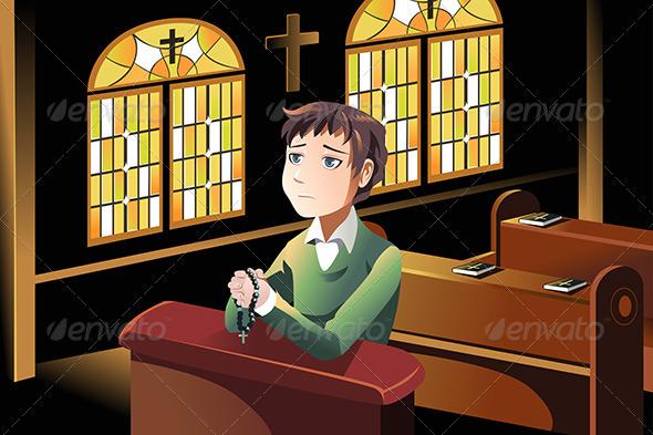 Christian Praying - Religion Conceptual