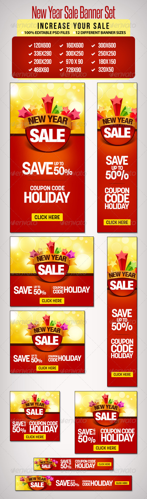 New Year Sale Banner Set 2 - 12 Sizes - Banners & Ads Web Elements