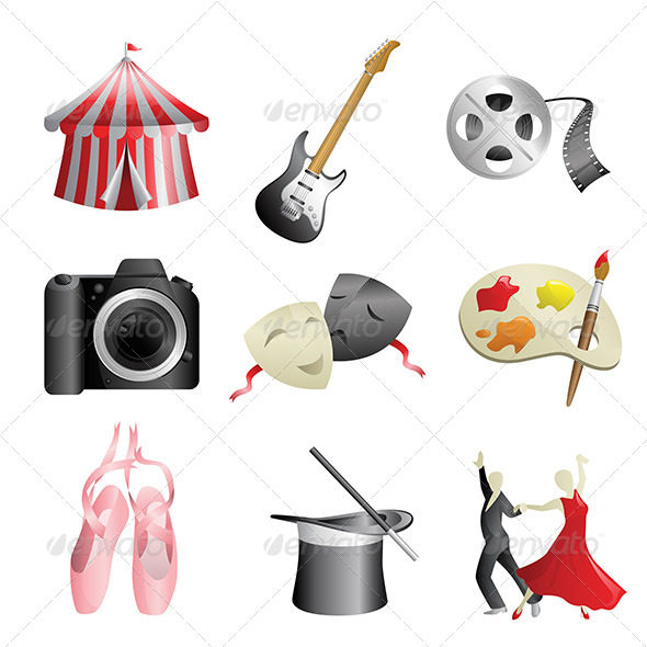Arts Entertainment Icons - Objects Vectors